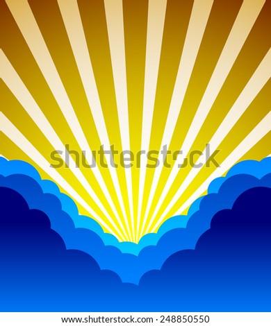 Clouds obscure sun. Dark blue skies. Nature scene. Editable vector. - stock vector