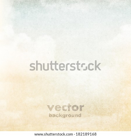 clouds on a textured vintage paper vector background, with grunge stains - stock vector