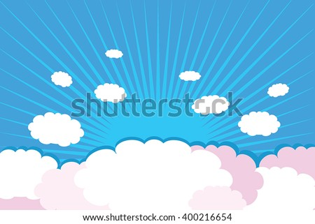 Clouds on blue background with rays - vector illustration of decorative white and pink clouds on sunburst blue sky.