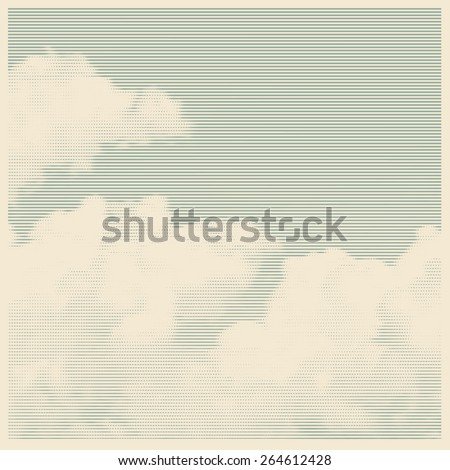 clouds, retro engraving style. design element. vector illustration - stock vector