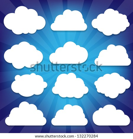 Clouds Set And Blue Sunburst With Gradient Mesh, Vector Illustration - stock vector
