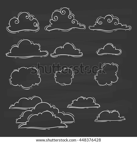 Clouds set with doodle art on chalkboard background - stock vector