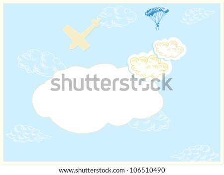 clouds, sky / drawing with parachutist and plane - stock vector