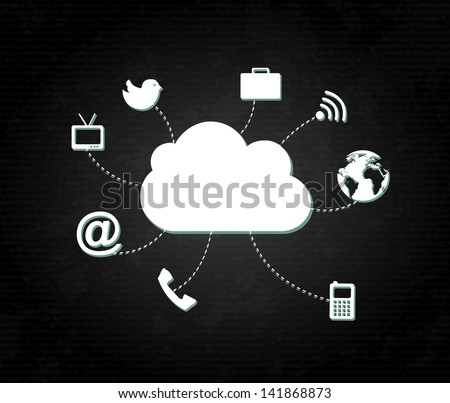 clouds social icons  over black background vector illustration