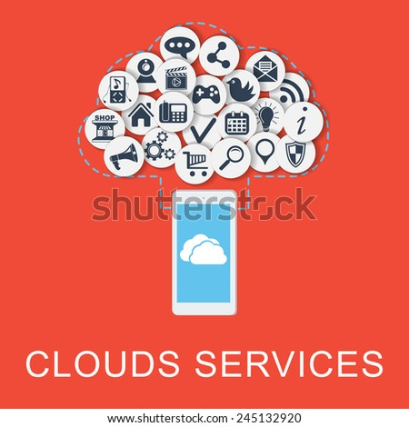clouds technology Vector Concept . With smart phone connect to clouds with meny services . Flat Design Illustration for Web Sites Infographic Design. - stock vector