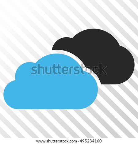 Clouds vector icon. Image style is a flat blue and gray iconic symbol on a hatch diagonal transparent background.