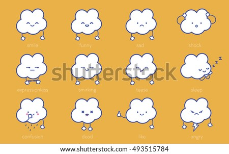Clouds white smile. Vector clean isolate illustration. Yellow background, blue characters. Set of Emoticons flat emoji