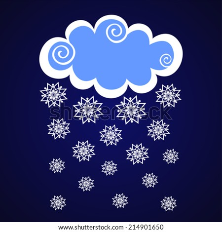 clouds with snow on blue dark background. Vector Illustration - stock vector