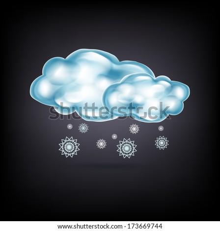 clouds with snow on dark background - stock vector