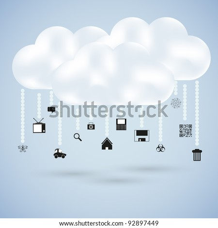 clouds with web icons. Vector illustration