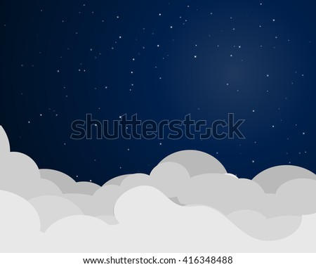Cloudscape at night, vector background