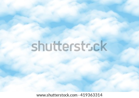Cloudscape Seamless Background, White Clouds on Blue Sky. Vector - stock vector