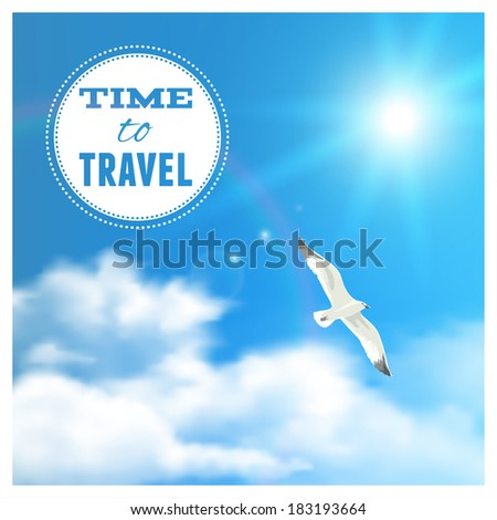 Cloudscape with Seagull. Vector illustration, eps10, editable. - stock vector