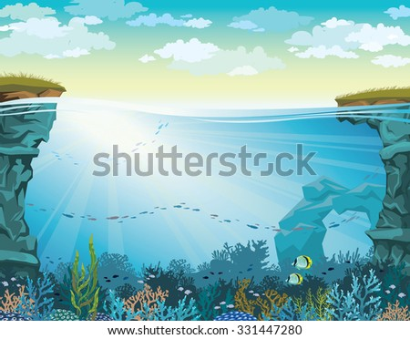 Cloudy sky above coral reef with school of fish and underwater cave. Vector seascape illustration. - stock vector