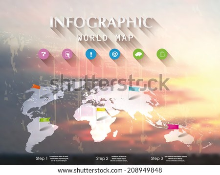 Cloudy sky background with infographic design elements and world map - stock vector
