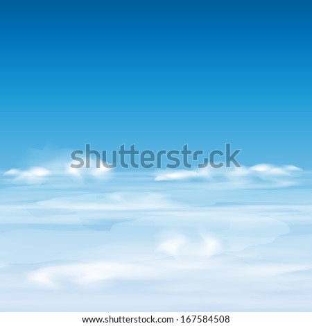 Cloudy sky, horizontal seamless background, vector illustration for your design, eps10. - stock vector