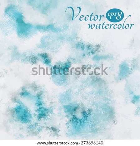 Cloudy sky illustration. Abstract watercolor vector background. Heaven with clouds. Blue sky, shades of white. Painted backdrop. Fresco imitation.  - stock vector
