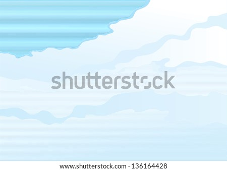 Cloudy sky. Vector background of color sky with clouds