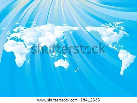 cloudy world map on blue sky background with copy space vector illustration