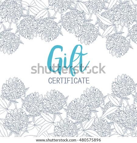 Clover Flowers Template Gift Certificate Flower Stock Vector (2018 ...