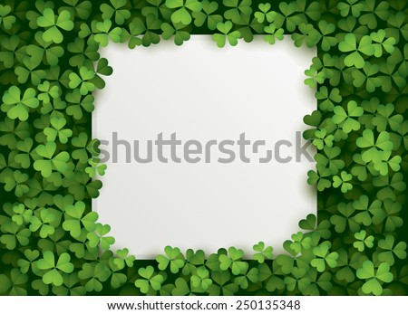 Clover leaves background with blank card - stock vector