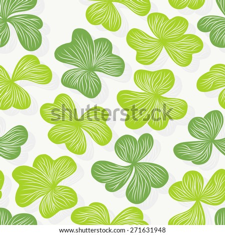 Clover leaves seamless pattern, graphical floral wallpaper - stock vector