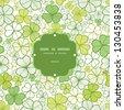 Clover line art frame seamless pattern background - stock vector