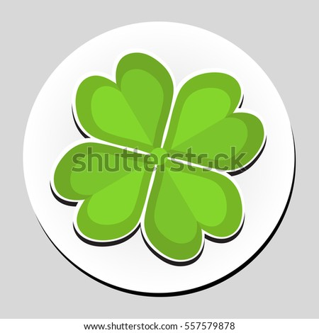 Clover sticker icon flat style. Vector illustration