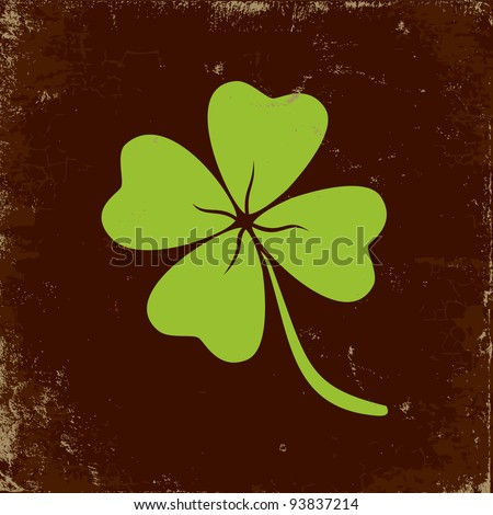 Clover with four leaves in brown background - stock vector