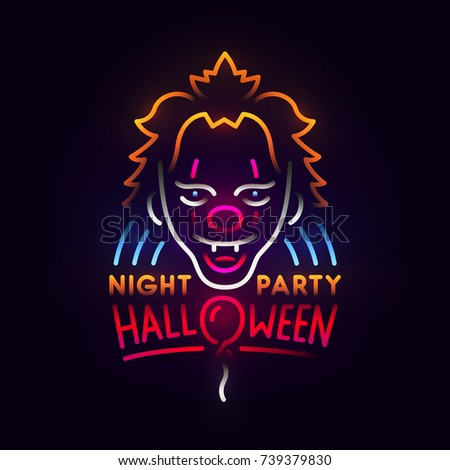 Great Clown Abstract Logo. Night Party. Happy Halloween. Logo, Label, Emblem