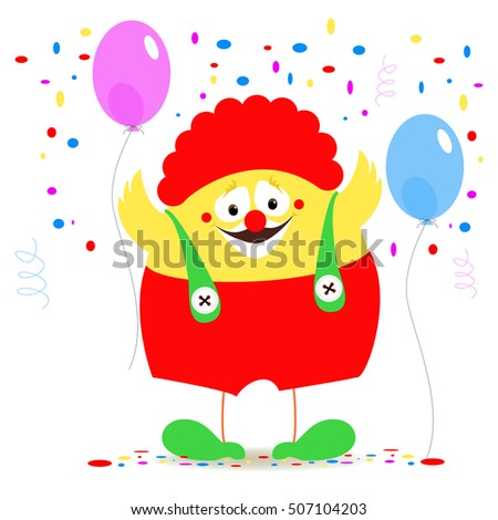 Clown chicken on a background of festive balloons and confetti. Symbol 2017 year chicken.