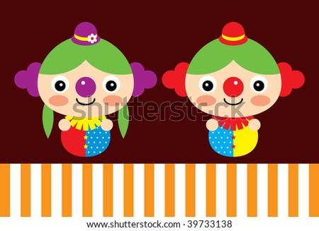 clown couple - stock vector