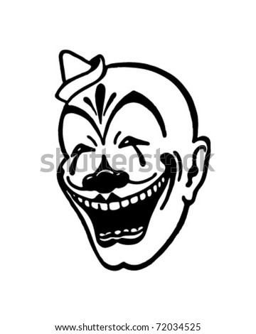 Clown Face - Retro Ad Art Illustration - stock vector