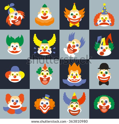 Clown face set. Character cry with hair in costume, carnival circus clown faces. Clown faces vector illustration - stock vector