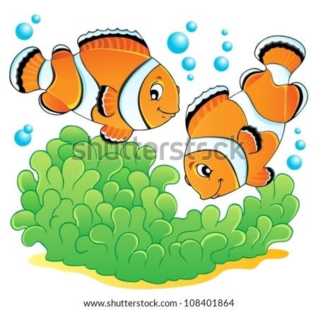 Clown fish theme image 1 - vector illustration. - stock vector