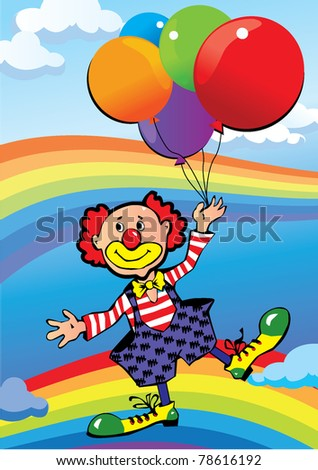 Clown flying on balloons. Vector art-illustration. - stock vector
