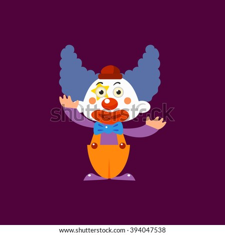 Clown Greeting Simplified Isolated Flat Vector Drawing In Cartoon Manner - stock vector