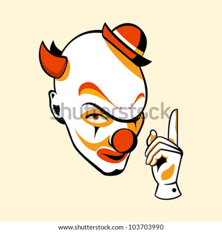 Clown head and hand in three color print halftone pattern