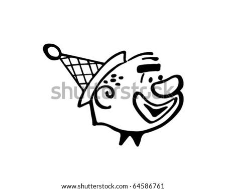Clown Head - Retro Clipart Illustration - stock vector