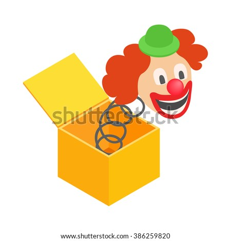 Clown jumps out of box icon. Clown jumps out of box icon art. Clown jumps out of box icon web. Clown jumps out of box icon new. Clown jumps out of box icon www. Clown jumps out of box icon app - stock vector
