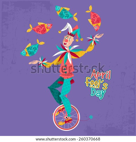 Clown on unicycle juggling fish. April Fool's Day. Vector illustration - stock vector