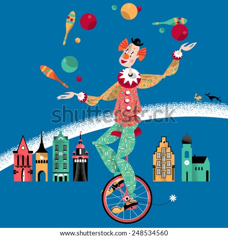 Clown on unicycle juggling with balls and pins. Vector illustration - stock vector