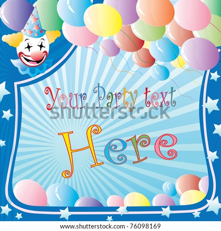 clown party banner with balloons and stars over striped background - stock vector