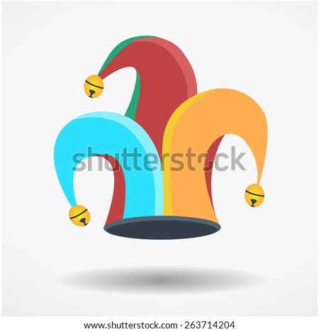 Clown`s hat, fools day, April - stock vector