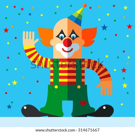 Clown   Showing Greeting Gesture . Flat vector illustration
