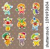 clown stickers - stock photo