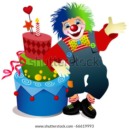 Clown with birthday cake