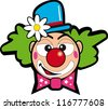 clown with flower. Illustration of a face clown for a sticker - stock vector