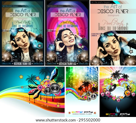 Club Disco Flyer Set with DJ Girl and Colorful Scalable backgrounds. A lot of different style flyesr for yourmusic event Posters and advertising printed material - stock vector