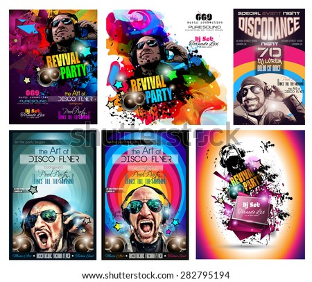 Club Disco Flyer Set with DJ shape and Colorful Scalable backgrounds. A lot of diffente style flyer for your techno, hip hop, electro or metal  music event Posters and advertising printed material. - stock vector
